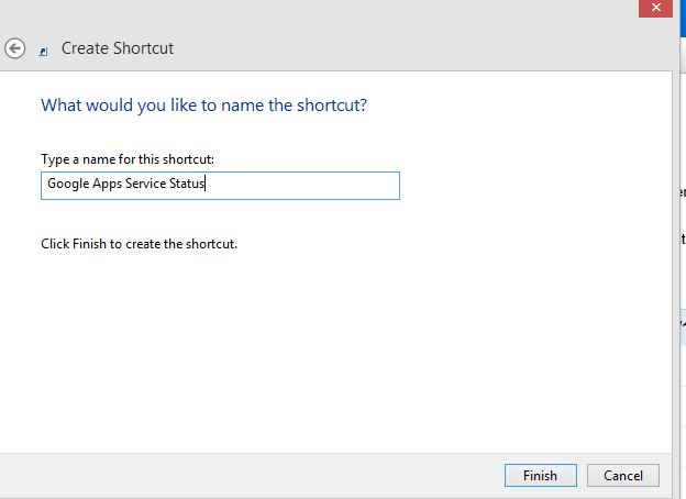 Naming the created Internet shortcut