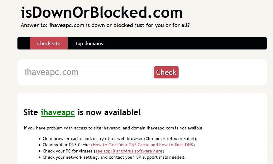 isdownorblocked.com home page
