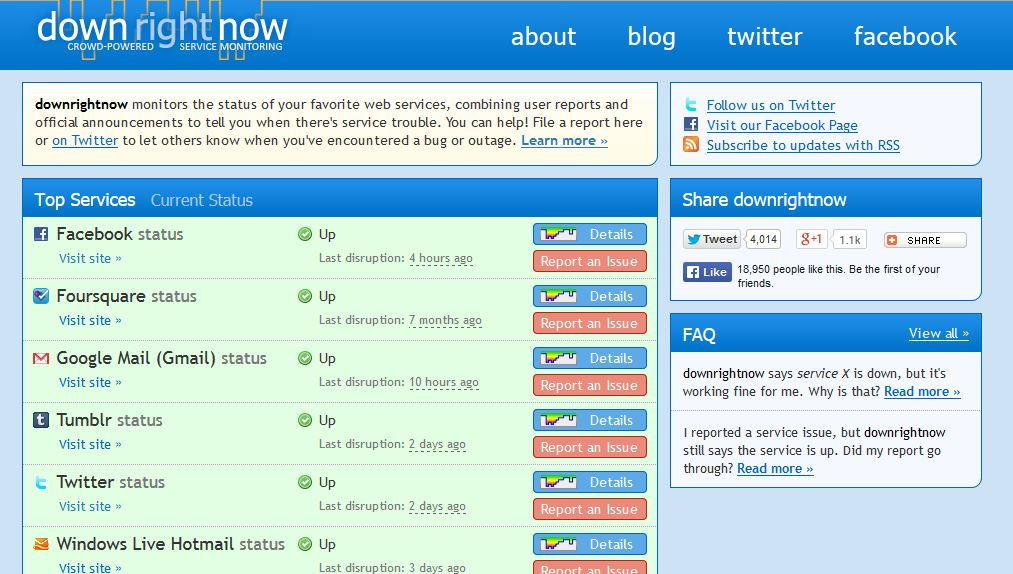 downrightnow home page