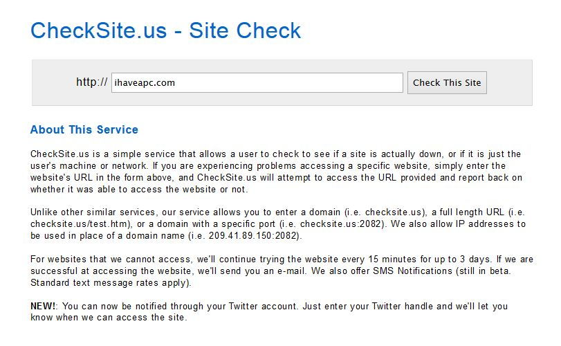 checksite.us home page
