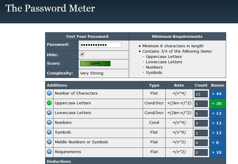 password meter tool to check password strength and complexity