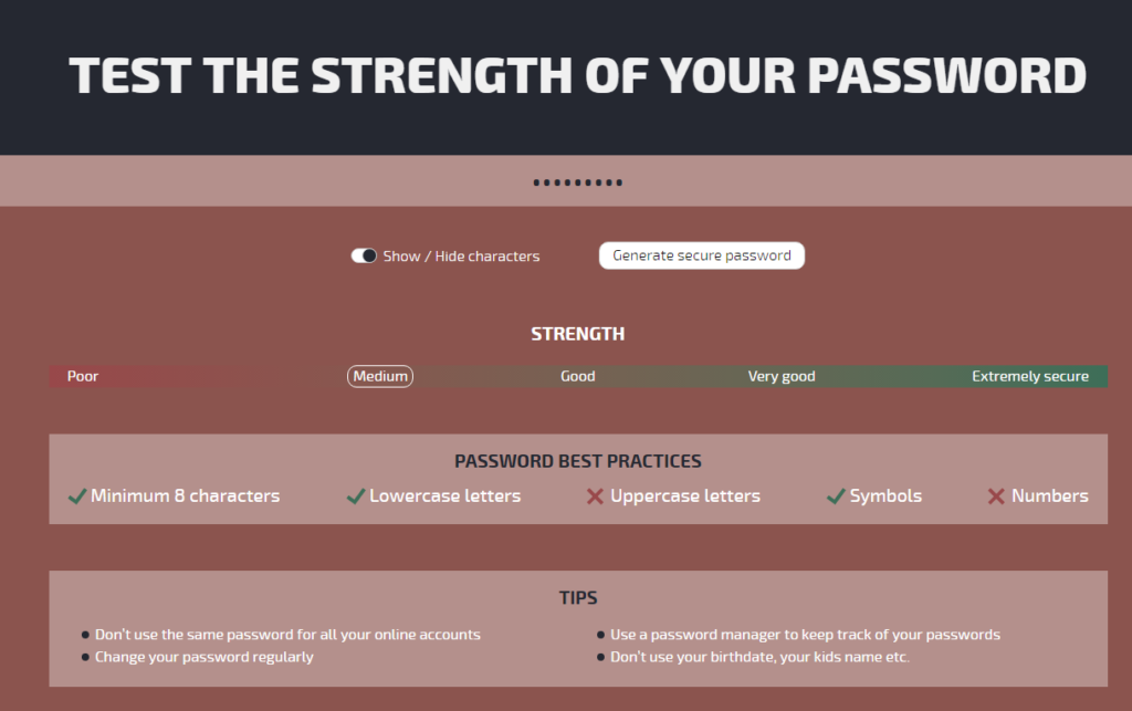password strength checker tool