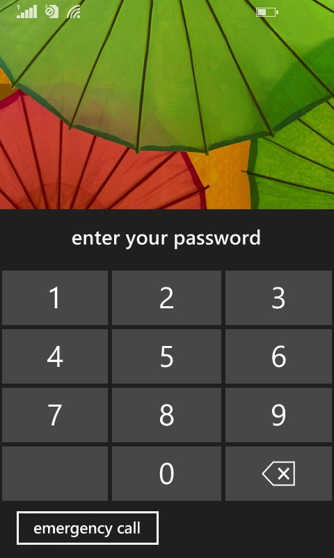 locked Windows 8.1 phone screen