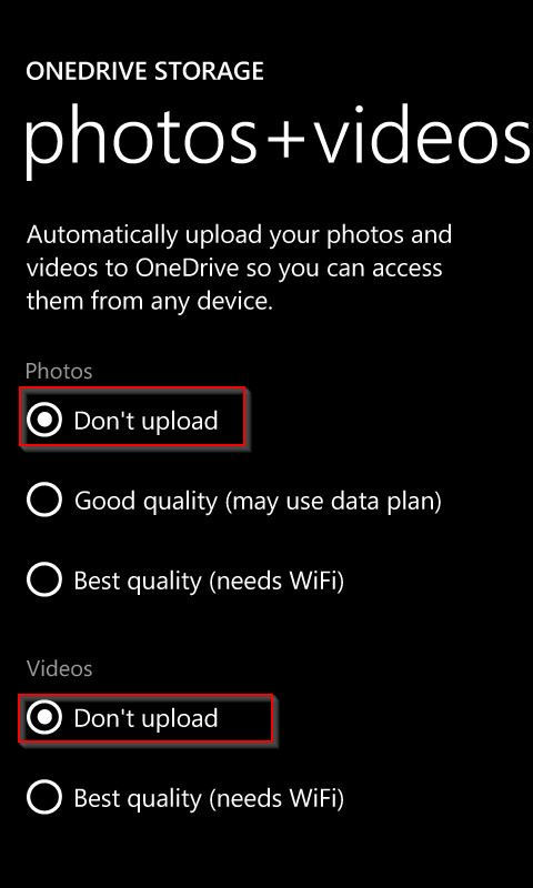 Turning off auto upload for photos and videos in Windows 8.1 phone