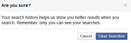 Confirmation message before clearing Facebook search history