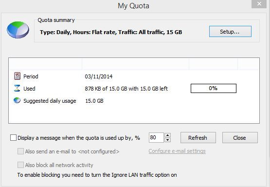 Quotas for bandwidth consumption in NetWorx