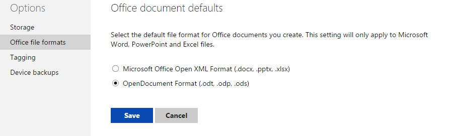 changing office document format to OpenDocument