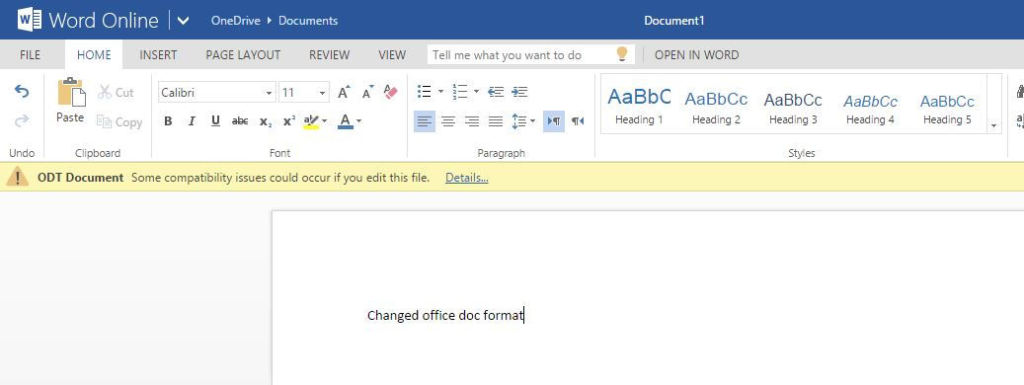 New documents created with OpenDocument format
