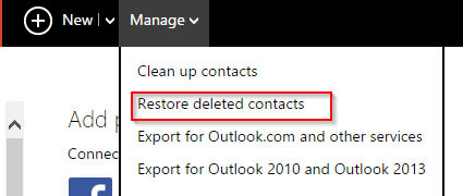 choosing the option of restoring deleted contacts