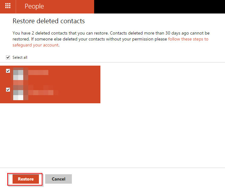 restoring deleted contacts in outlook.com
