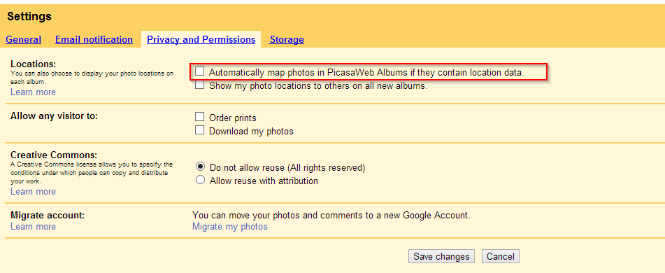 Disable geo mapping for photos in Picasa