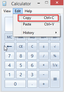Copy pasting functions in Windows calculator