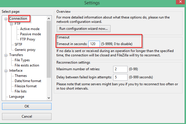 How To Modify Timeout Interval For Filezilla FTP Client - I