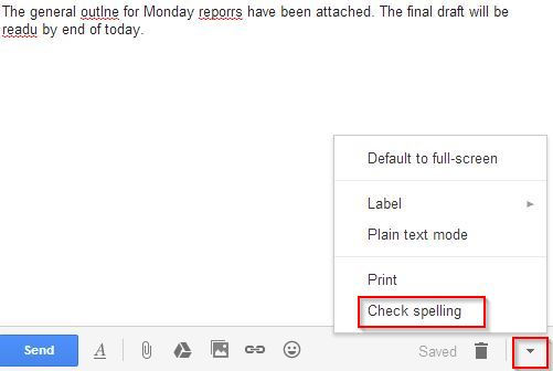 using the spell check feature in Gmail