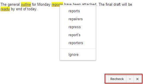 correcting the typos in Gmail messages using the spell check feature