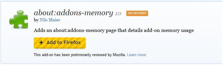 Installing about:addons-memory add-on in Firefox