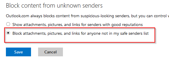 Turn off external content for contacts not on safe list in Outlook.com