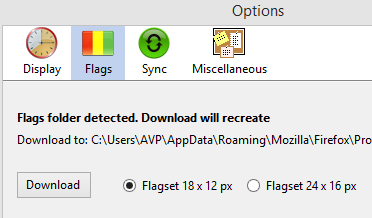 Downloading flags for Simple Clocks