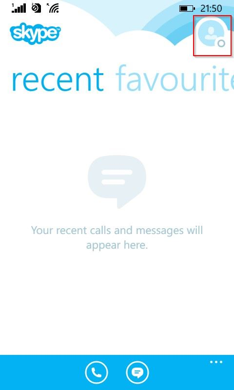 Status notification icon in Skype for Windows phone