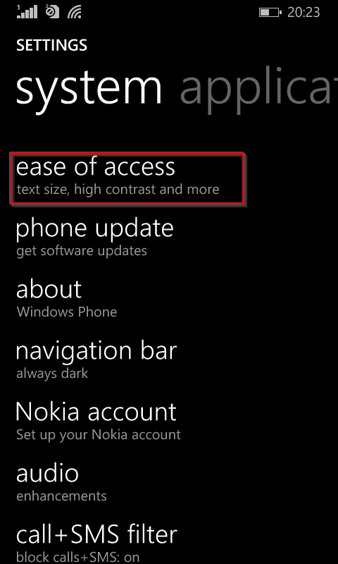 Accessing Ease of Access from Windows 8.1 phone settings