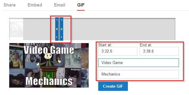 specifying GIF settings for YouTube videos