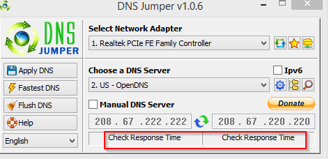DNS Jumper main interface