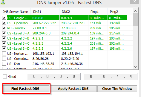 list of public DNS servers with their response time displayed by DNS Jumper
