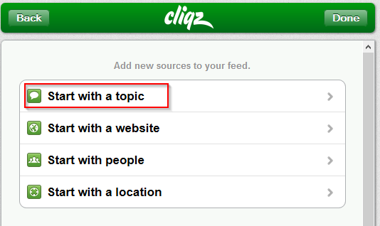 choosing topics of interest, websites of interest, people and location of interest in cliqz