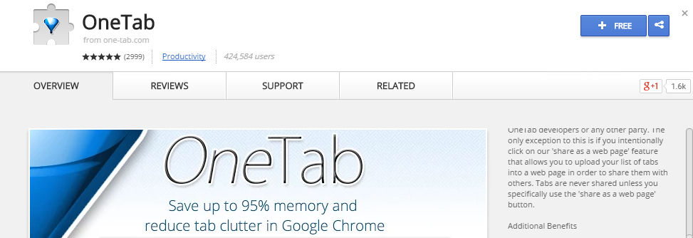 installing OneTab from Chrome Web Store