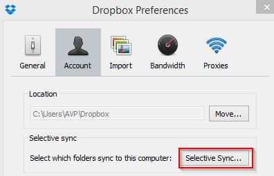 accessing selective sync settings for Dropbox in Windows