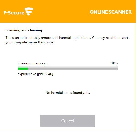 f-secure online scanner in operation