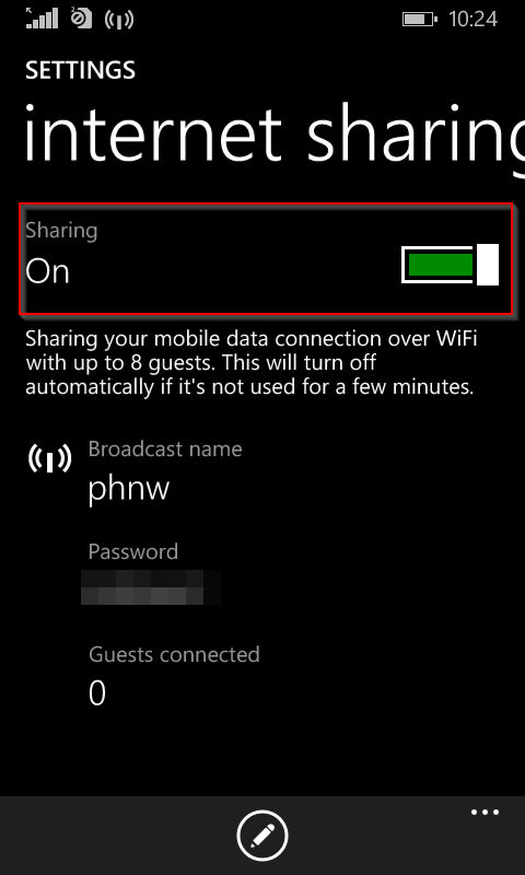 internet sharing enabled in windows phone