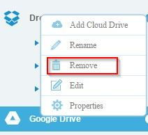 removing cloud drives in multcloud