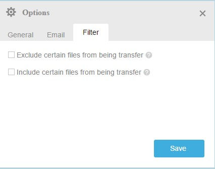 specifying filters to exclude and include different files types for transfers in multcloud