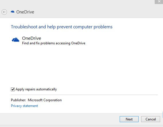 running the onedrive diagnostics tool