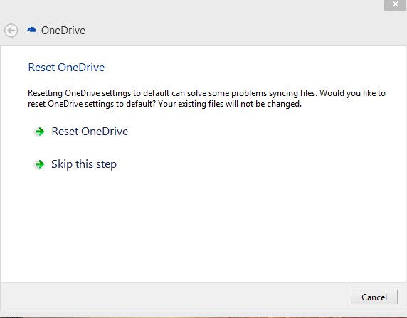 reset onedrive settings using the troubleshooter