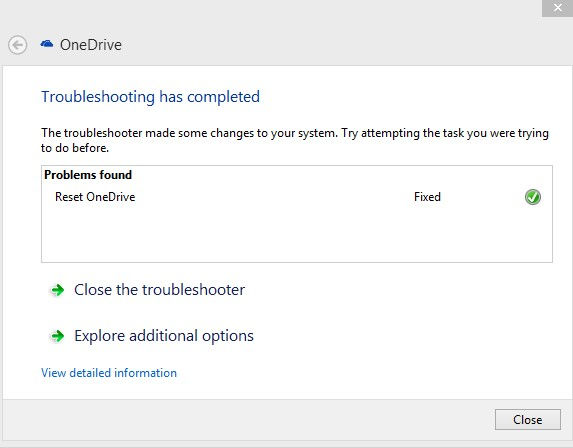 problems with onedrive fixed through troubleshooter