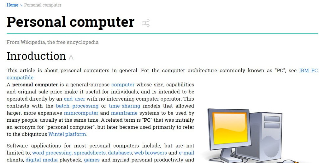 wikipedia article as displayed using wiki add-on in chrome