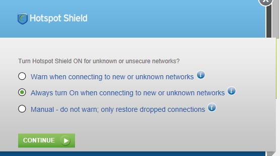hotspot shield network options