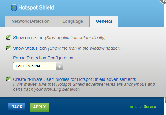 settings for hotspot shield