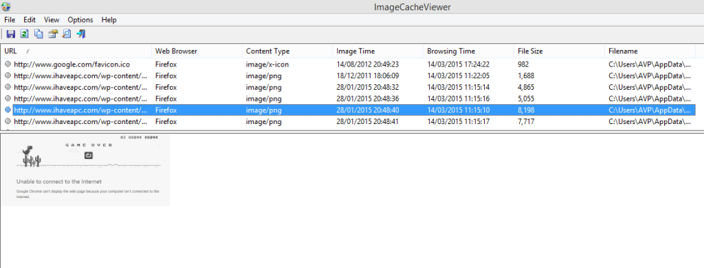 list of cached images from different browsers as displayed by imagecacheviewer