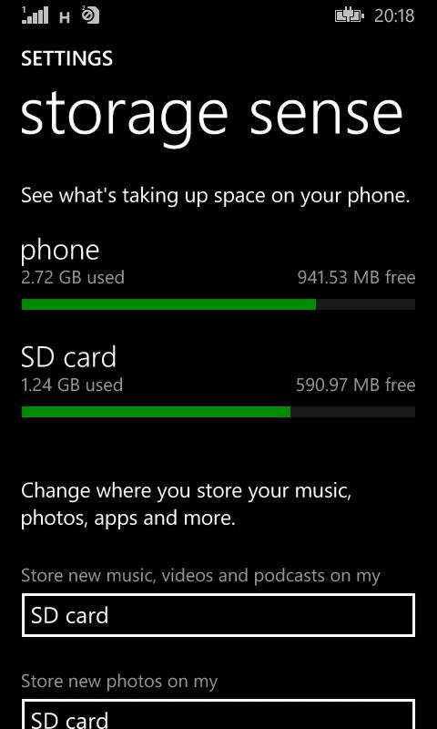storage sense in Windows Phone 8.1