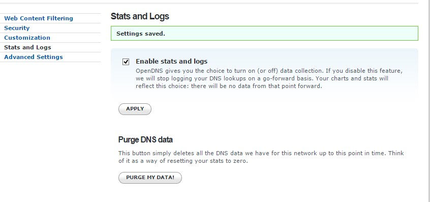 enabling stats and logs for added networks in OpenDNS
