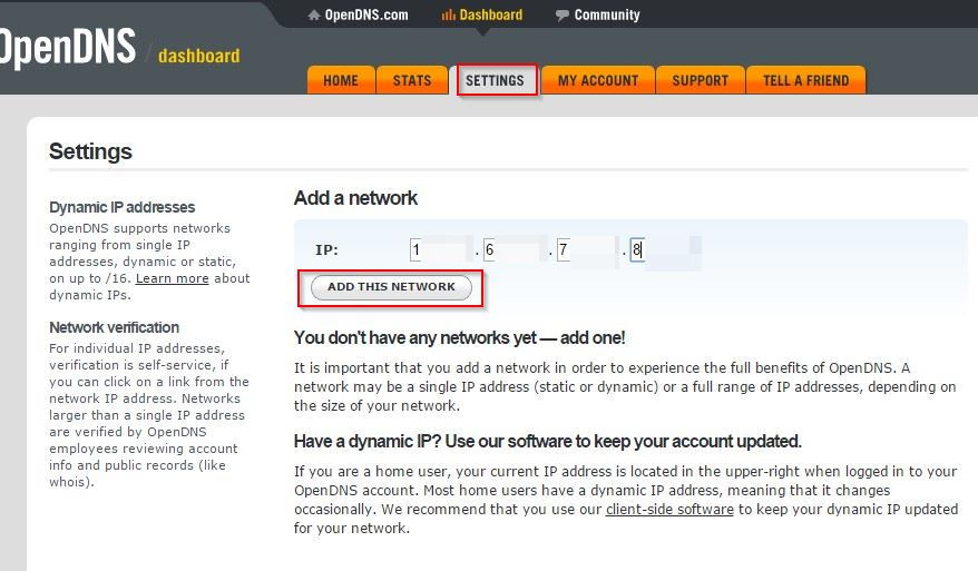 adding a network for web filtering using OpenDNS