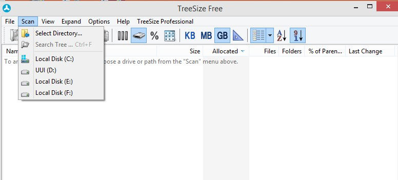 scanning drives for files and folders in treesize free