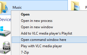 windows 8 command prompt option for folders