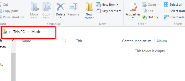 address bar for folders in Windows 8
