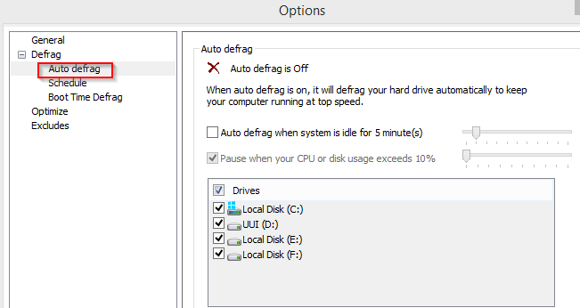 configuring auto defrag options in disk speedup