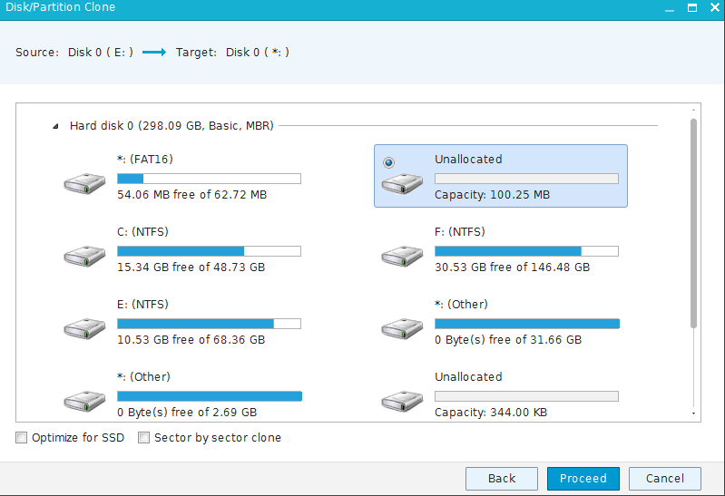 source drive for cloning