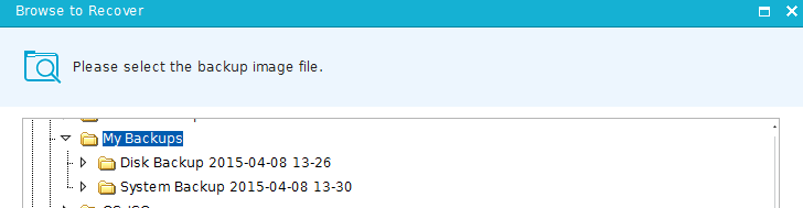 recovering backup images